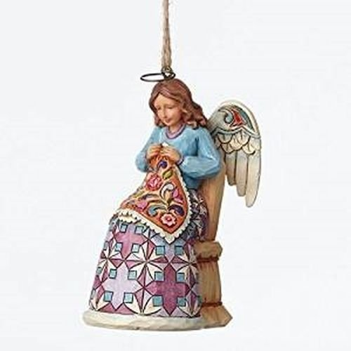 Jim Shore Heartwood Creek Sewing Angel Ornament, 3.5-inch