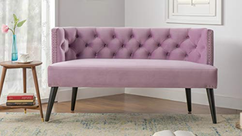 Jennifer Taylor 61100-952 Celine Tufted Wooden Legs Settee, Lavender (Settee Couch Sofa)