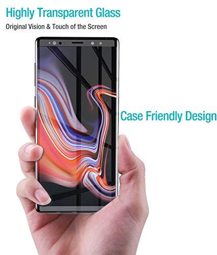 TOZO Protector de Pantalla para Samsung Galaxy Note 9, [Marco Completo 3D] Dureza Vidrio Templado Tempered 9H Protector…