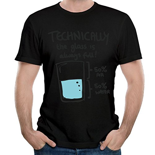 TsiaeaKc Men's Technically The Glass Is Always Full Short Sleeve T Shirt Color Black Size - Glasses Jennifer Lawrence