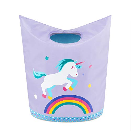 KMD Kids Laundry Hamper, Collapsible Dirty Clothes Basket, Pop Up Bin for Baby, Nursery, Boys and Girls Bedroom Decor (Unicorn)