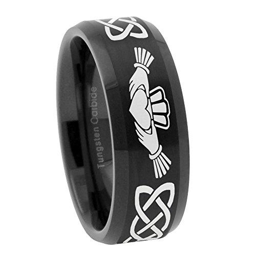 8mm Irish Claddagh Tungsten Brush Black Bevel Polish Edges Free Engrave Ring Size - Store Engrave It