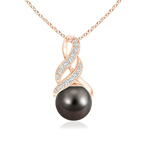 Tahitian Cultured Pearl and Diamond Swirl Bale Pendant in 14K Rose Gold (9mm Tahitian Cultured Pearl)