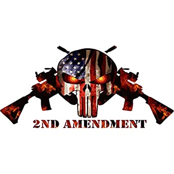 Amazoncom Nd Amendment Skull And Machine Guns Back Window Truck - Truck rear window decals   how to purchase and get a great value safely