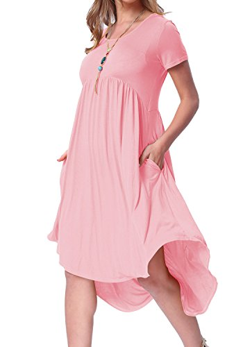 levaca Womens Summer Short Sleeve Swing Loose Beach Casual Shift Dress Pink ()