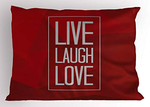 Ambesonne Live Laugh Love Pillow Sham, Abstract Triangle Polygon Background a Quote in Rectangular Frame, Decorative Standard King Size Printed Pillowcase, 36 X 20 Inches, Vermilion ()