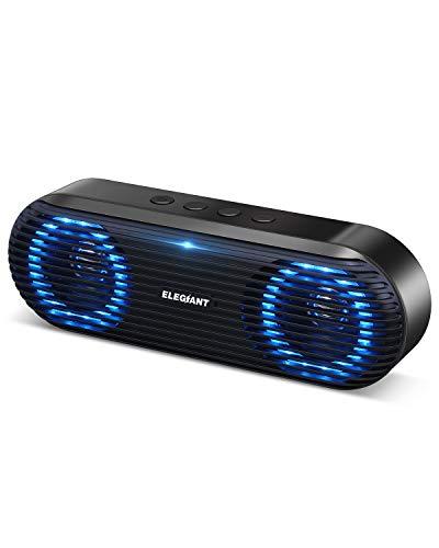 Bluetooth5.0 スピーカー ELEGIANT ワイヤレス PCスピーカー スマホスピーカー 10W高出力 高音質 大音量 LEDライト付 小型 ポータブル マイク内蔵 ステレオ 長時間連続再生 パソコン タブレットUSB AUX接続 日本語説明書 メーカー保証