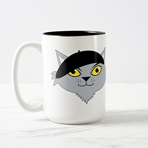 Zazzle Retro Cool Beatnik Cat Coffee Mug, Black Two-Tone Mug 15 (Beatnik Cat)