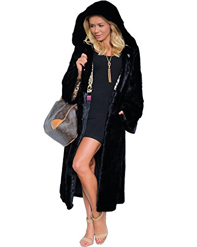 - Aofur New Womens Thick Faux Fur Big Hooded Parka Long Overcat Peacoat Winter Coats Jackets (X-Large, Black_Full Length)