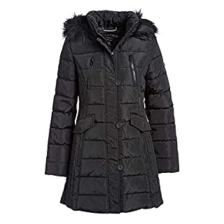 Nautica Women's 3/4 All Weather Puffer Coat (Black, Medium)