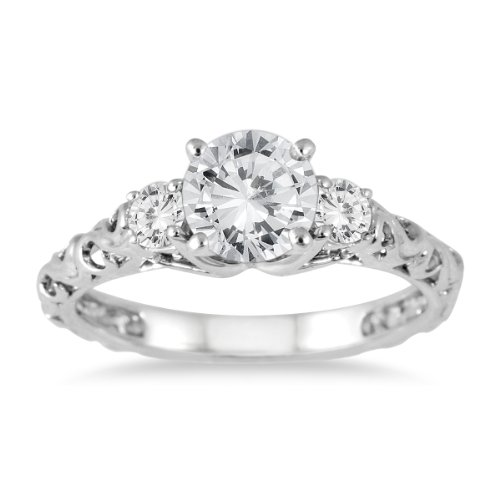 AGS Certified 1 Carat TW Diamond Three Stone Art Deco Ring in 14K White Gold (J-K Color, I2-I3 Clarity)