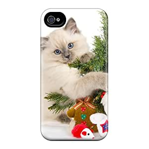 New Snap-on MiMorton Skin Case Cover Compatible With Iphone 4/4s- Christmas Cat Cute