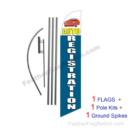 15ft Auto Registration (car) 15ft Feather Banner Swooper Flag Kit - INCLUDES 15FT POLE KIT w/GROUND SPIKE ()
