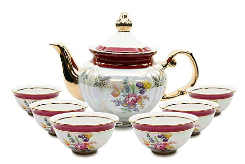 - Royalty Porcelain 7-pc Mini Tea Cup Set, Cups and Teapot, Vintage Czech Cobalt Red Floral Pattern, Bone China Tableware