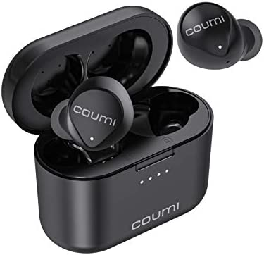 True Wireless Earbuds, COUMI Bluetooth Earbuds Stereo Bass in-Ear Earphones with Mic IPX7 Waterproof EQ Setting Bluetooth 5.0 Headphones USB C Charging 30H Playtime Touch Control for iOS Android