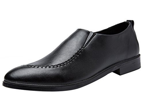 Insun Mens Faux Leather Slip On Loafers Shoes Black OmCYMQpU2