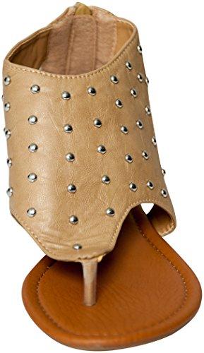 Bayville Sandalias De Tacón Bajo Con Tachuelas Gladiador Mujer Sandalias Camel 81013