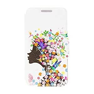GONGXI-Patrón de niña de las flores Kinston PU Leather Case cuerpo completo con soporte para Samsung Galaxy i9600 S5