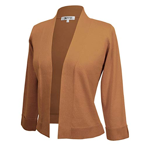 Cami Open Front - Women's 3/4 Sleeve Open Front Sweater Cardigan Cropped Bolero Style MK3558-CAM-S Camel