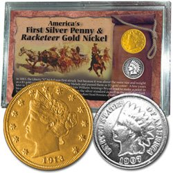Americas First Silver Penny Racketeer Gold Nickel