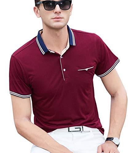 XTAPAN Men Short Sleeve Polo Shirt-Casual Slim Fit Polo T Shirt US S=Tag L 7176 Wine Red