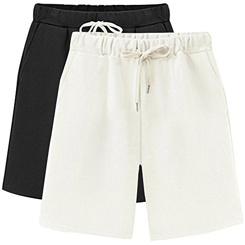 Gooket Women's Soft Knit Elastic Waist Jersey Bermuda Shorts with Drawstring 2 Pack Black+White Tag 3XL-US (Womens Cotton Bermuda Shorts)