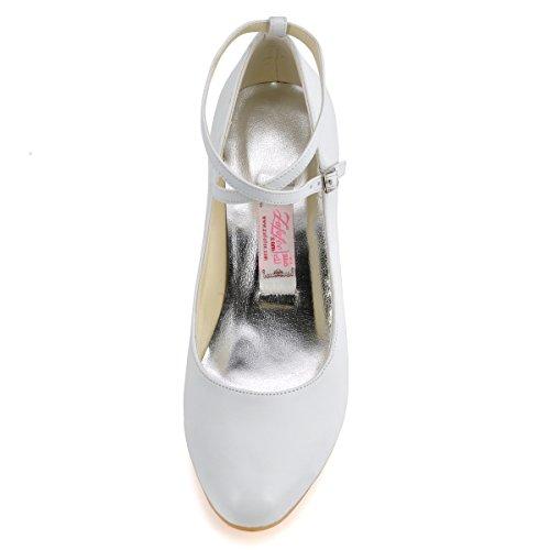 ElegantPark EP31032 Mujer Leatherette PU Punta Chiusa Bombas El tacón Alto Tiras Zapatos De Boda Blanco