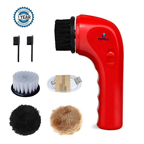 - Electric Shoe Brush, Viiwuu Upgrate Portable Handheld Automatic Electric Shoe Shine Polisher Leather Care for Bags Car Seat Sofa dish Cleaning Tools Kit (Red)