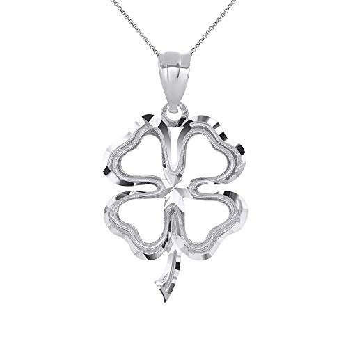 - CaliRoseJewelry 14k Lucky Charm Four Leaf Clover Shamrock Irish Pendant Necklace in White Gold, 16