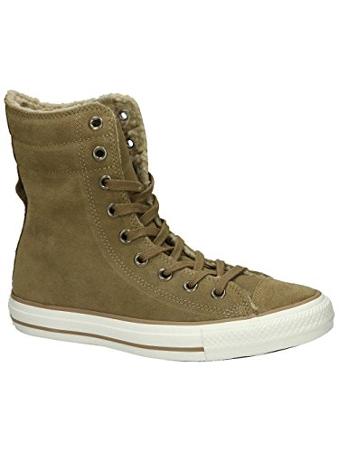 CONVERSE Chuck Taylor All Star Hi Rise Sand/Egret Suede Sneakers 553421C Women Boot Shoes (7.5 Men/ 9.5 Women)