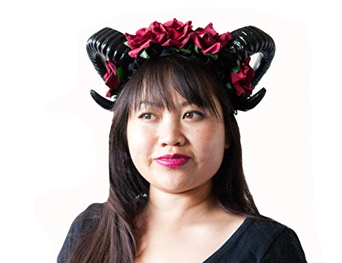 Hit Delights Cute Horns Headwear for Costumes, Halloween and Cosplay (Scarlet) -