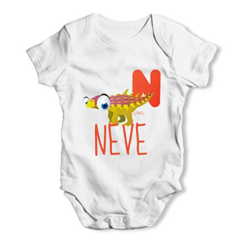 [Twisted Envy Personalised Dinosaur Letter N Baby Unisex White Bodysuit 0 - 3 Months] (Animal That Starts With The Letter N)