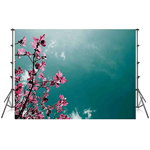 Floral Stylish Backdrop,Fig Tree Florets with Sunny Sky Exotic Summer Spring Plants Scenic Nature View for Photography Festival Decoration,86''W x 59''H