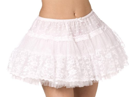 Smiffy's Women's Tulle Lace Petticoat - One-Size White