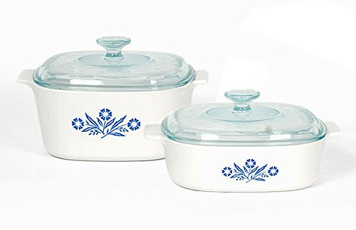 Corningware A-423C-BF Blue Cornflower Pyroceram 4pc Cookware Set 2-Pack