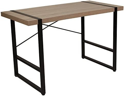 Flash Furniture Hanover Park Rustic Wood Grain Finish Console Table with Black Metal Frame