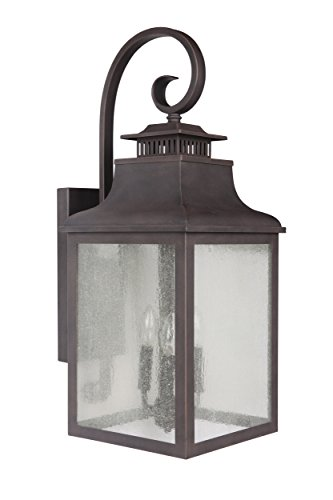Y Decor EL2284RT Modern, Transitional, Traditional 3 Light Rustic Bronze Exterior Outdoor Light Fixture with Clear Seedy Glass Medium By Y Décor, , Brown