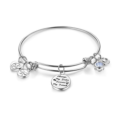 Charmire+Womens+Engraved+Message+%22Always+my+sister+forever+my+friend%22+Dangle+Charm+Friendship+Bangle+Bracelets+Inspirational+Jewelry+Girls+Gifts