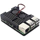 BEESCLOVER Caixa de metal de alumínio para Raspberry Pi 4 com dissipador de calor com ventilador duplo e estilo de vida criat