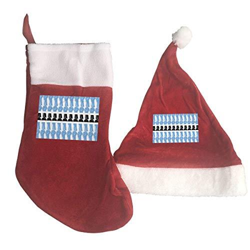 Zeajant Botswana Flag Raised Fist Santa Hat & Christmas Stocking Holiday Christmas Decorations Party -