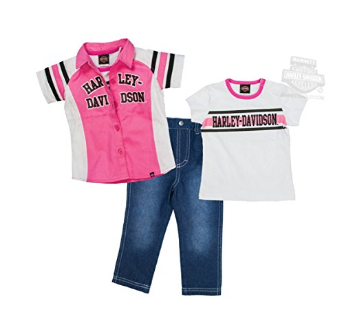 - Harley-Davidson Girls Baby B&S Logo Glitter Print Shop Shirt 3pc Denim Pant Set (4T) Pink/White