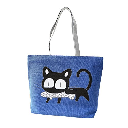 Cute Casual Handbag Fashion Bag Bags Women Cartoon Hunpta Blue Canvas Shoulder Cat OHB5xAAwqz