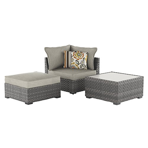 - Ashley Furniture Signature Design - Spring Dew Outdoor 3-Piece Furniture Set - Cocktail Table, Corner Chair & Ottoman with Cushion - Gray