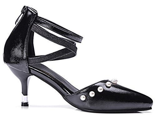 Pumps Beaded IDIFU Mid Kitten Black Cross Heels Dressy Closed Womens Zipper Strap Toe Pointed With Shoes HHRqBPnW1