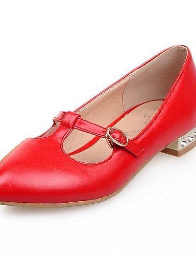 ZQ Zapatos de mujer - Tacón Bajo - Punta Redonda - Mocasines - Casual - Semicuero - Amarillo / Rosa / Rojo / Blanco , pink-us10.5 / eu42 / uk8.5 / cn43 , pink-us10.5 / eu42 / uk8.5 / cn43 white-us6 / eu36 / uk4 / cn36