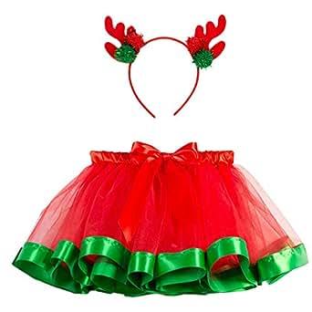 POLP Niño Navidad Cosplay Bebe Verde Vestido Rojo Disfraz navideños Ropa Invierno niñas Faldas de Malla navideña Princesa Falda Tutu Diadema Vestidos Fiesta 2pcs 12mes-5años