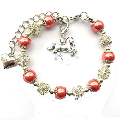 DOLON Simulated Pearls Horse Jewelry Bracelet for Girls Orange