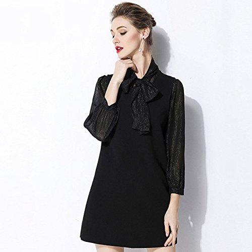 Noir ZHUDJ Débardeur. Printemps Shirt Femme Long Bow sans Manchon XXL