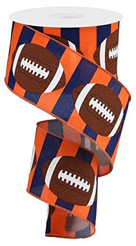 Football Striped Wired Ribbon - 10 Yards (Navy Blue, Orange, 2.5