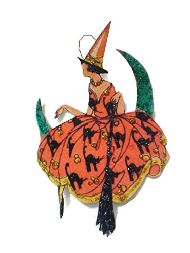 [Halloween Ornament Decoration Art Deco Pretty Witch on Moon] (Glamour Witch)